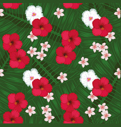 Plumeria hibiscus green leaves background seamless vector