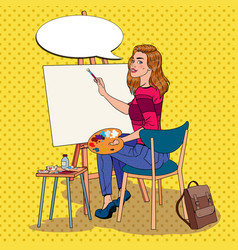 Pop art female artist painting at the studio vector