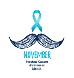 prostate cancer awareness ribbon with moustaches vector image