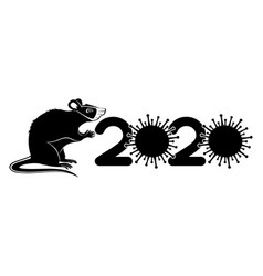 rat in a medical mask symbol 2020 vector image