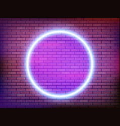 round neon frame on a brick wall vector image