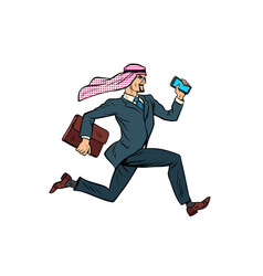 Running arab businessman isolated on white vector