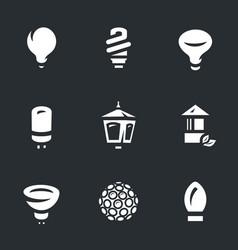 set bulbs icons vector image