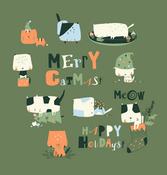 Set cute crazy cats with christmas elements vector
