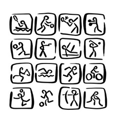 Set doodle sport icons sketch vector