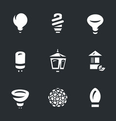 set of bulbs icons vector image