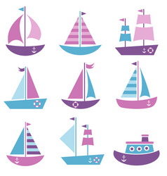 set sea transport icons vector image