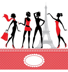 Set silhouettes fashionable girls vector