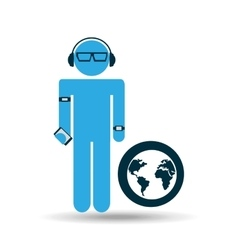 silhouette man globe technology wearable vector image