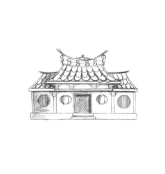 Sketch of Taiwan temple Asia vector image