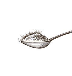 spoon with sugar vector image