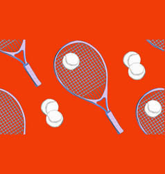 sport seamless pattern tennis racket and ball vector image