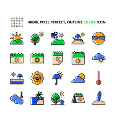 Summer related pixel perfect colored icon set vector