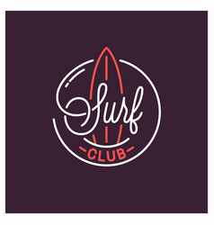 surf club logo round linear logo surfboard vector image