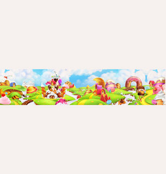 sweet land panorama landscape background vector image