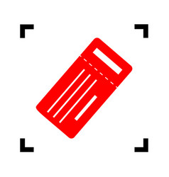 ticket simple sign red icon inside black vector image