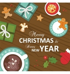 top view christmas celebration vector image