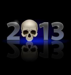 twenty thirteen year skull on black background vector image