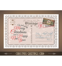 Vintage Postacard for Christmas greetings cards vector image