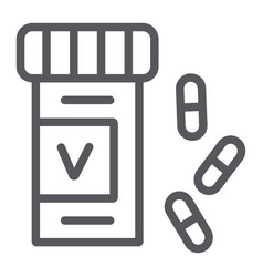 vitamins bottle line icon health and pharmacy vector image