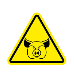 Warning pig swine on yellow triangle road sign vector