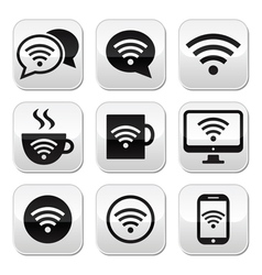 wifi internet cafe buttons set vector image