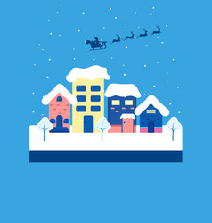 Winter city landscape snowy street and winter vector