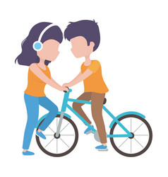 woman with headphones and man riding bike vector image