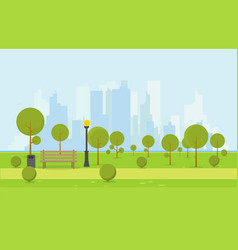 Wooden park bench vector