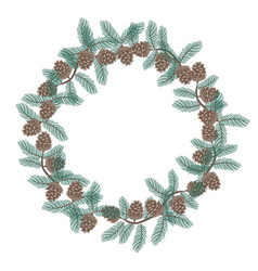 wreath pine cones isolated on a white vector image
