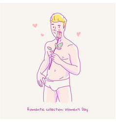 Young naked man holding a rose in his hand vector