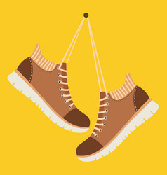 brown shoes hang on laces vector image