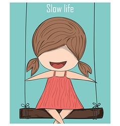 Cartoon girl smile on swinging Slow life drawing vector image vector image