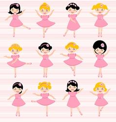 Cute ballerinas set vector image