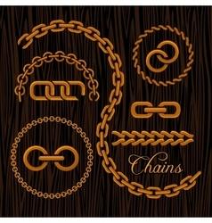 Golden chains on a dark background vector image