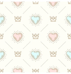 Seamless background with crown and hearts vector image vector image