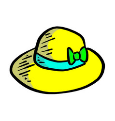 yellow summer hat sketch hand drawn vector image