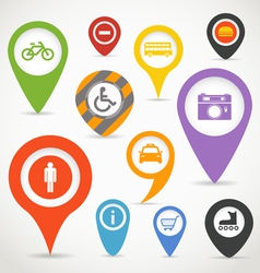 Navigation elements with transport icons vector image