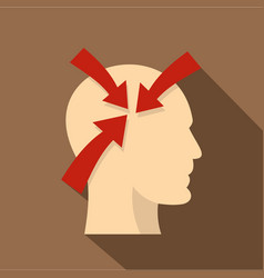 profile of the head with red arrows inside icon vector image