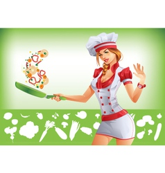 Sexy woman cooking vector image vector image