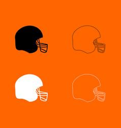 American football helmet black and white set icon vector