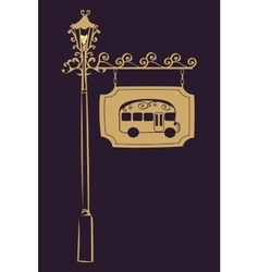 Bus stop vintage road sign vector image