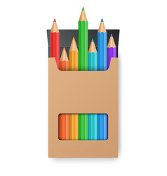 color pencil set in the yellow box vector image