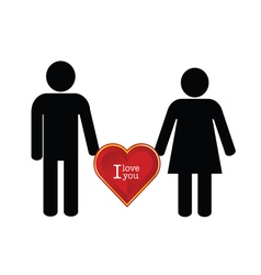 couple with heart red color icon vector image vector image