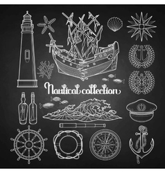 Graphic nautical collection vector