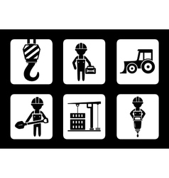 set of builder and construction equipment icons vector image vector image
