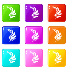 wing icons 9 set vector image