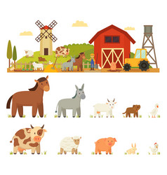 animal farm white background vector image