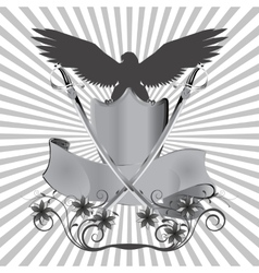 background eagle on shield with swords and flowers vector image