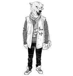 Fashion hipster animal bear portrait vector
